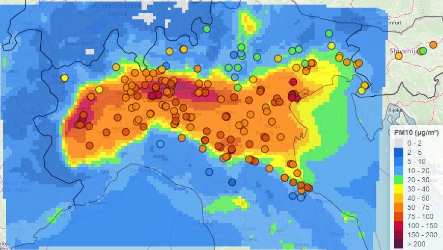 Qualità dell'aria nel Bacino Padano secondo Prepair
